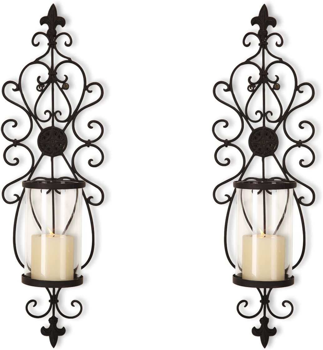 Asense Iron and Glass Scroll Candle Holder Sconce (Holds One Pillar Candle) - Set of 2