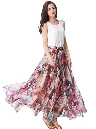 32dcfc3d16 Medeshe Womens Chiffon Floral Print Elasticated Waist Maxi Skirt Casual  Clothing