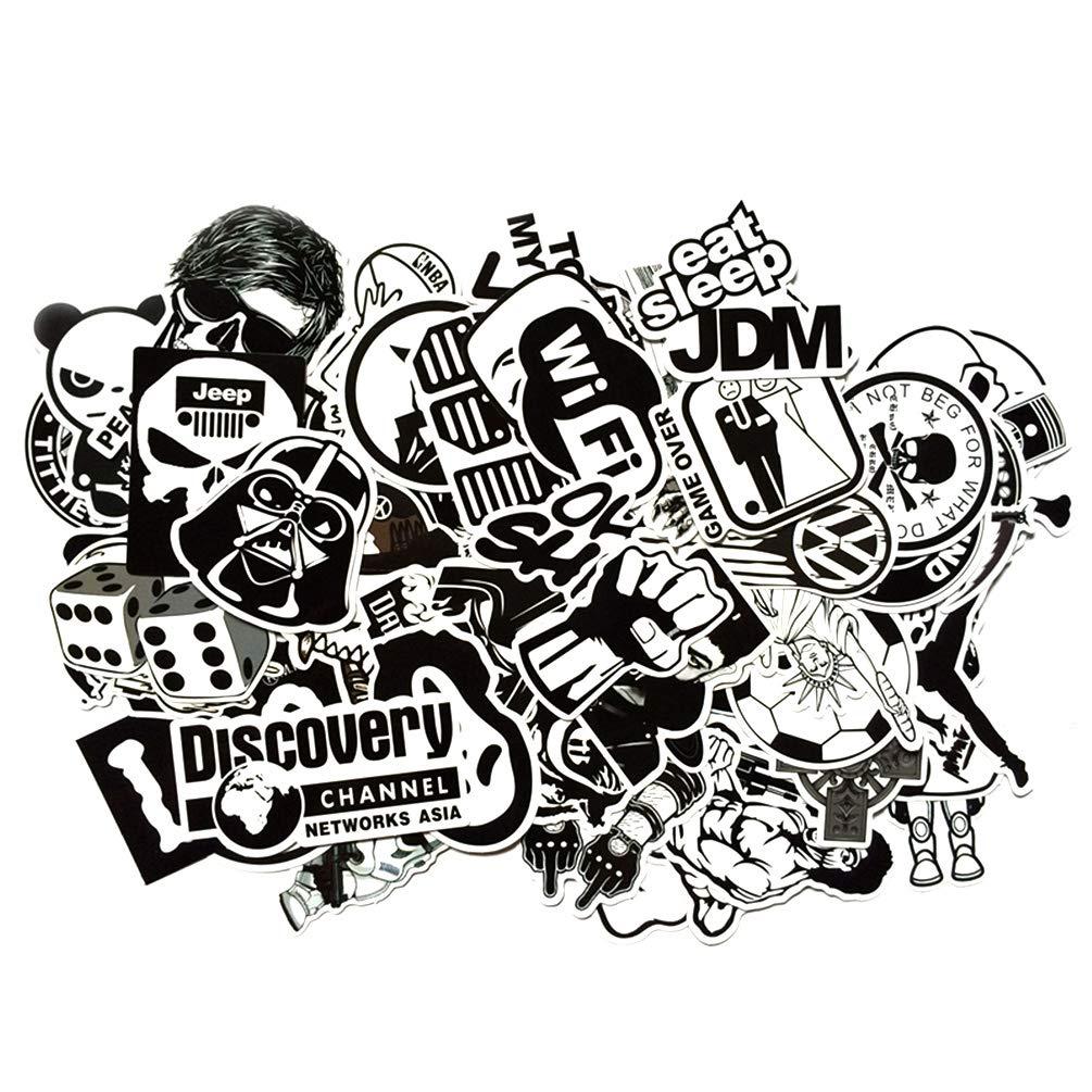 Navadeal 100pcs assorted black white waterproof vinyl stickers perfect for laptop phone case helmet guitar skateboard luggage graffiti travel case