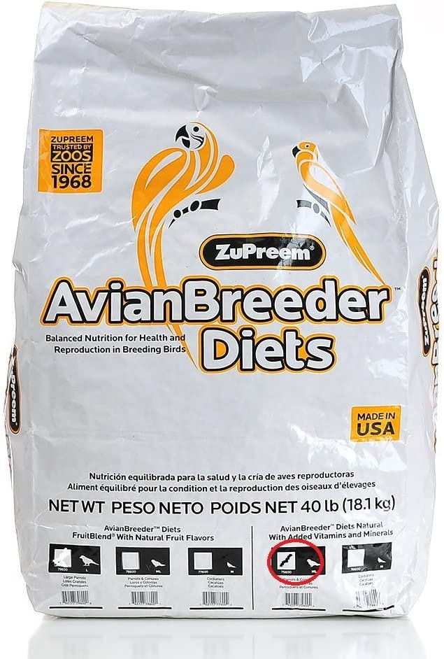 AvainBreeder Zupreem Food Parrots NAT Breeder Medium/Large 40#