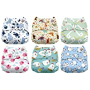 Mama Koala One Size Baby Washable Reusable Pocket Cloth Diapers, 6 Pack with 6 One Size Microfiber Inserts (Funky Farm)