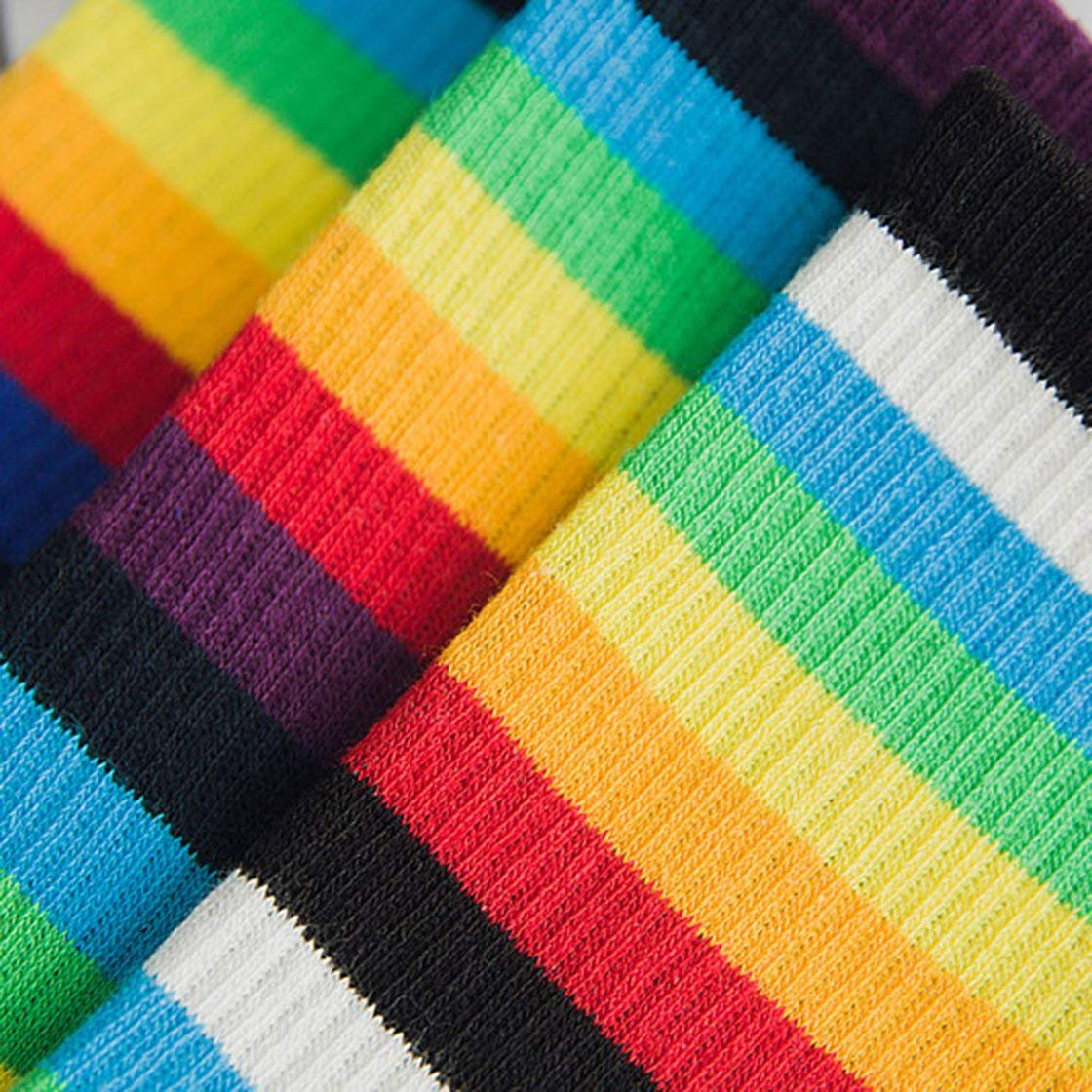 Fashionable Teenage Girls Rainbow Stripe Middle Socks Cute Full Cotton Socks