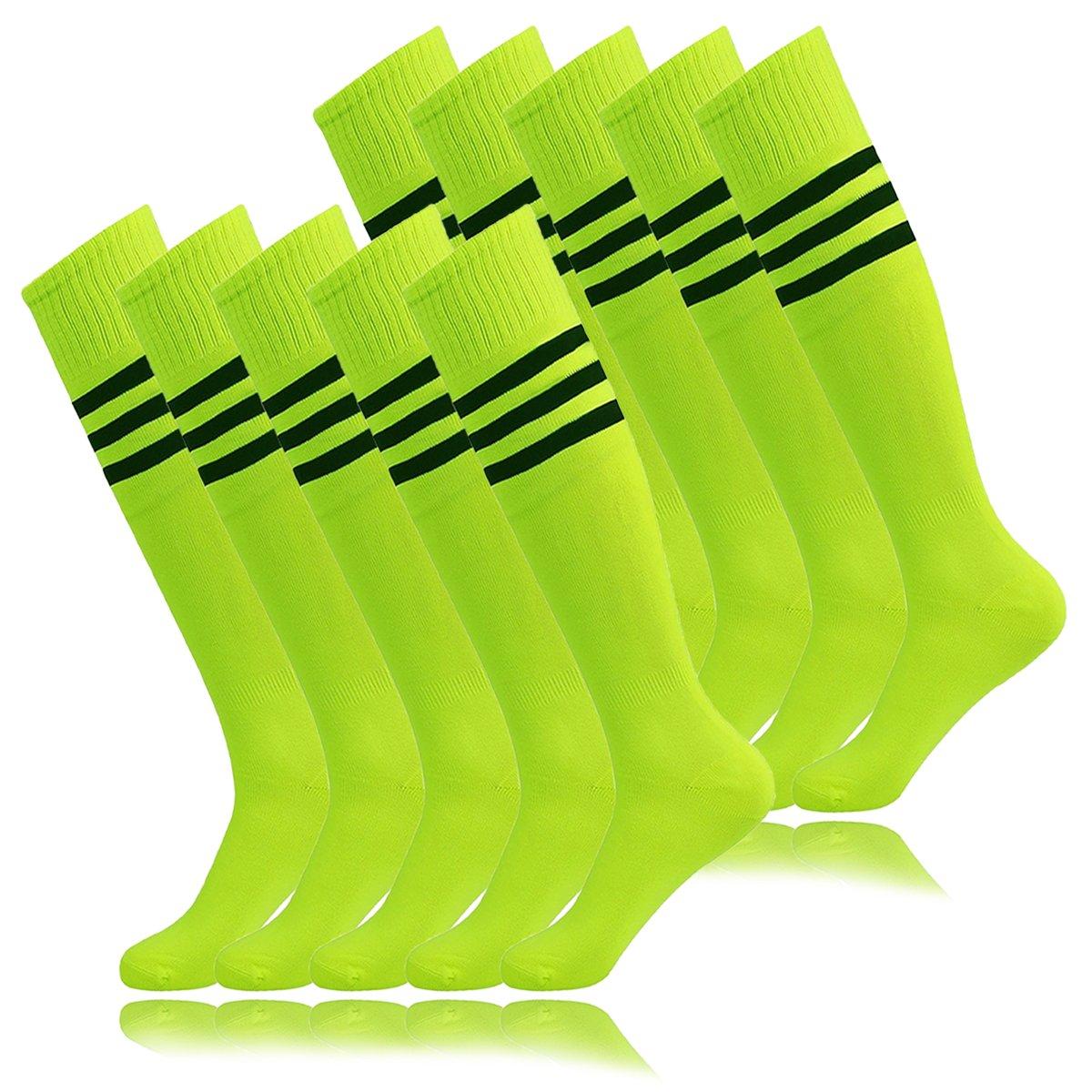 Men Baseball Softball tube Socks, Unisex Youth de correr Over The Calf Football Soccer Neon Green Yellow (10Pairs-Fluorescence Green) by MOAIR