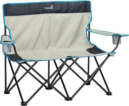 skandika Double Folding Chair- Silla Doble de Camping - Plegable - hasta 100 kg - portavasos - Bolsa de Transporte