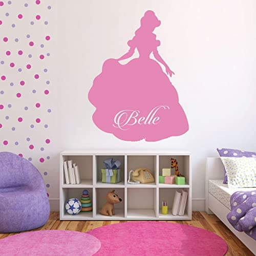 Amazon.com: Disney Princess Belle Vinyl Wall Art - Personalized ...