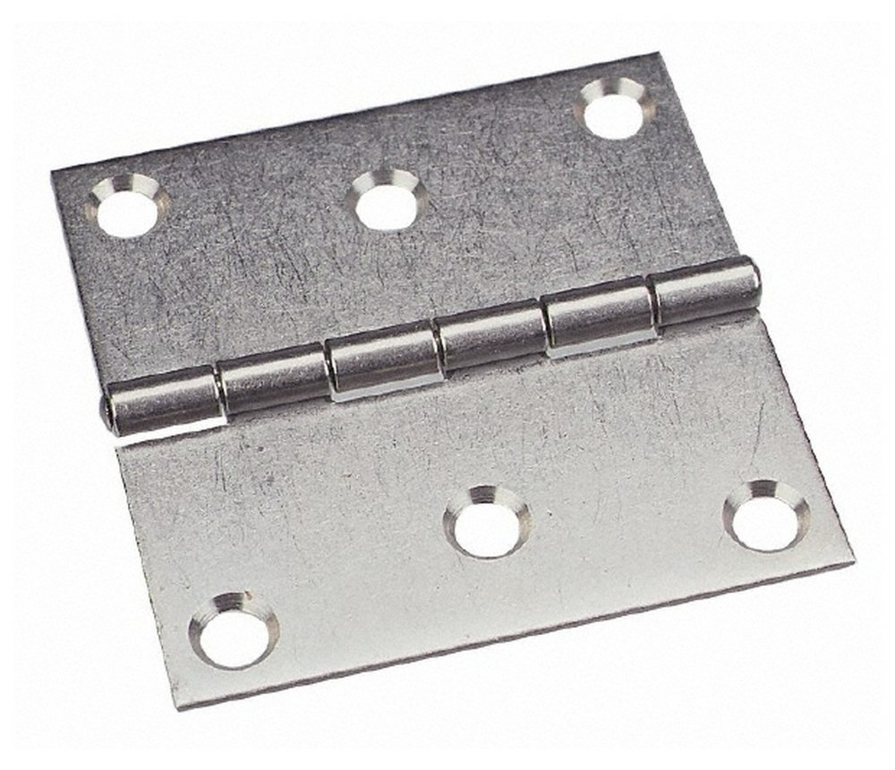 3'' Long x 3'' Wide x 0.093'' Thick, 302/304 Stainless Steel Commercial Hinge, 6 Holes, 0.25'' Pin Diam