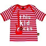 Rockabye-Baby Girl's Kid Rocks Tee Short Sleeve T-Shirt (Red/Pink)