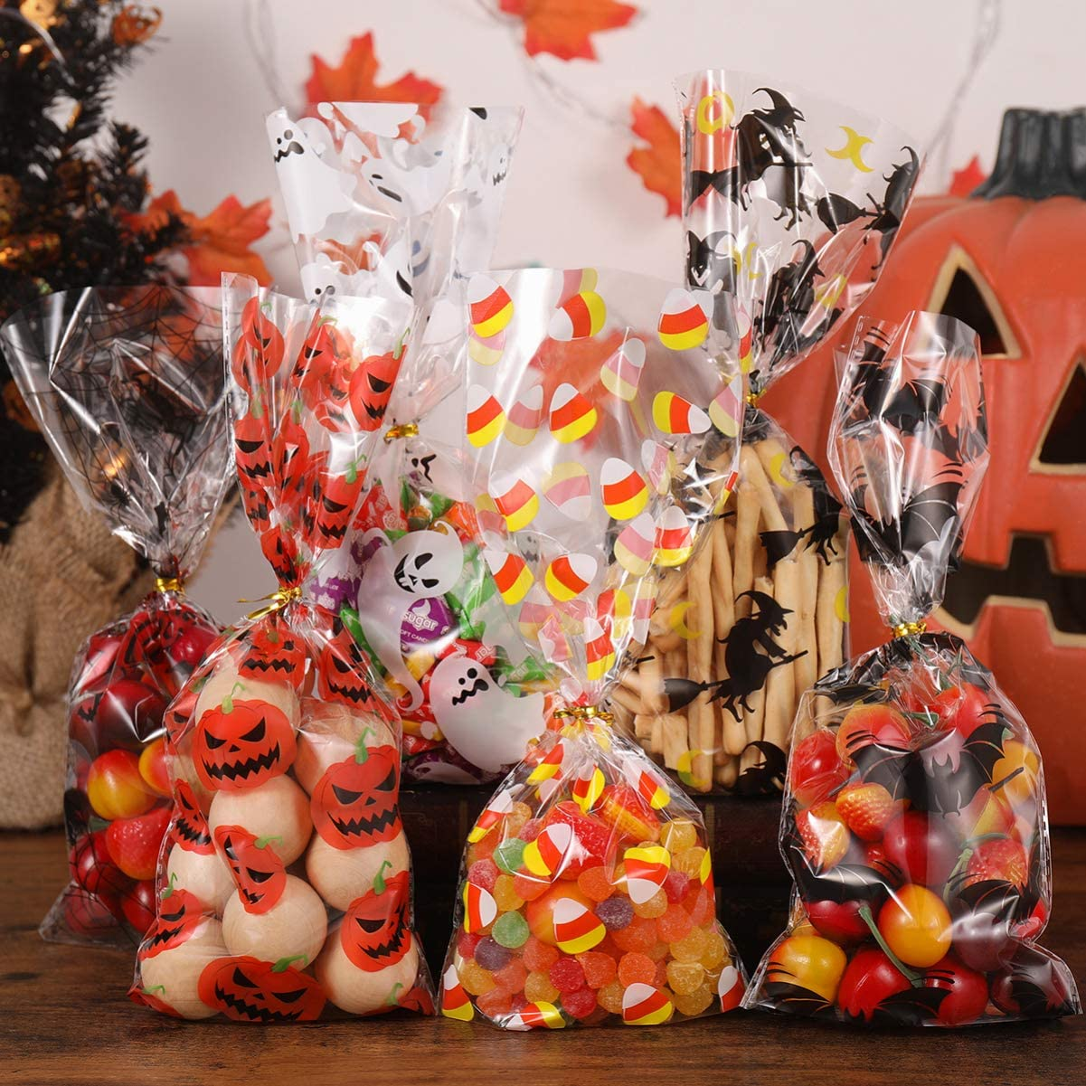 Halloween Snack Bags Clear Candy Cookie Treat Bags with Twist Ties for Snacks Halloween Party 150 Pieces
