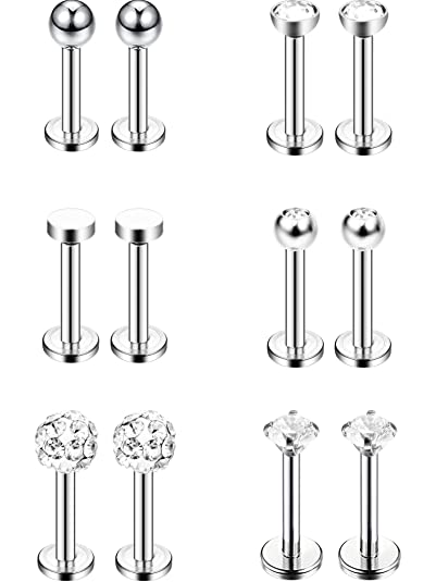 4 Pairs 16 Gauge Stainless Steel Nose Studs Helix Lips Crystal Tragus Labret...