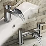 iBathUK Luxury Waterfall Basin Sink Mixer Tap + Chrome Bath Filler Faucet Set TP3450