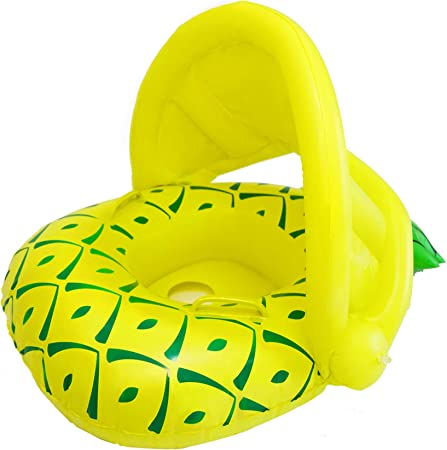 Vindany Baby Swimming Pool Float - Kids Inflatable Swimming Pool Boat Trainer Ring Safe Seat Toys with Adjustable Sun Canopy for Age 6-36 Months Toddler (Yellow Pineapple)
