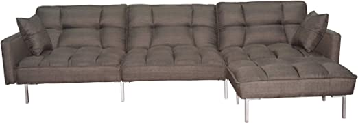 EiioX Sectional Sofa Bed Recliner Couch Sleeper Reversible Chair Lounge  Futon with 2 Pillows & Storage Pocket, Fold Up & Down for Living  Room,Bedroom, ...