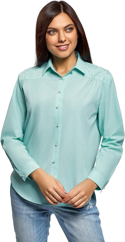 oodji Ultra Mujer Camisa Holgada con Abalorios Decorativos