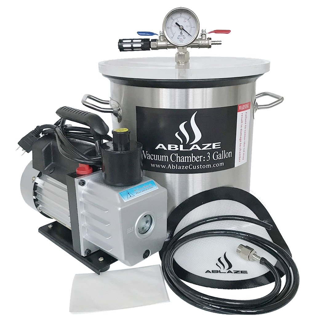 ABLAZE 3 Gallon Stainless Steel Vacuum Degassing Chamber and 3 CFM Single Stage Pump Kit
