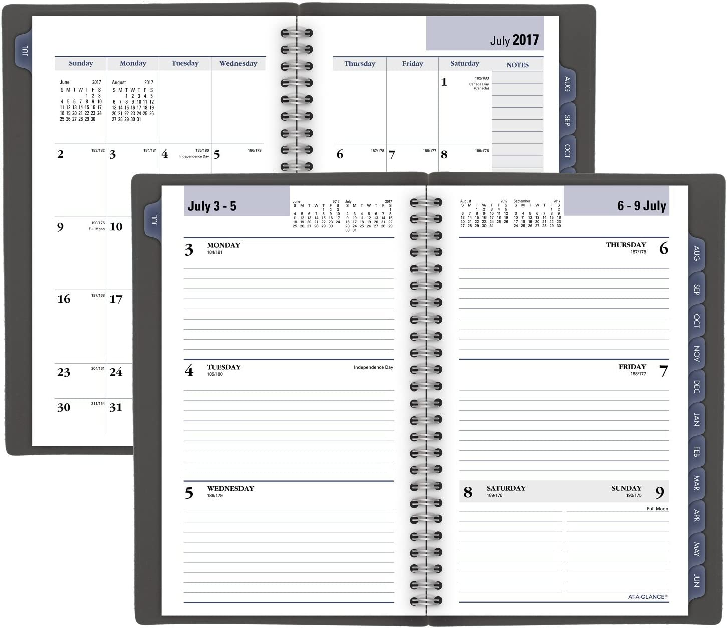 5 x 8 AYC20045 DayMinder AT-A-GLANCE Weekly /& Monthly Planner Small Charcoal Academic Planner 2020-2021