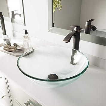 Vigo Vg07074 16 5 16 5 W 6 5 H Clear Crystalline Handmade Countertop Glass Round Vessel Bathroom Sink In Iridescent Finish Amazon Com