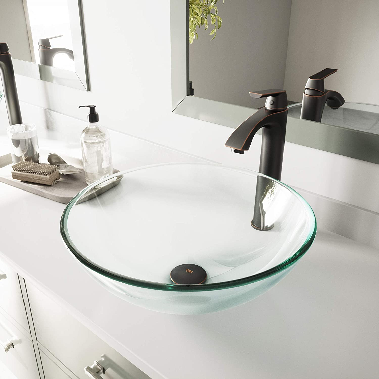 VIGO VG07074 Glass Above counter Round Bathroom Sink, 16.5 x 16.5 x 6 inches, Clear Crystalline
