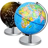 "Illuminated World Globe - 2 in 1 Globe with Plug, Daytime View 9"" World Globe, Night View Stars and Constellations Globe, Built-in LED Bulb, No Battery Required, Educational Gift, Night Stand Decor"