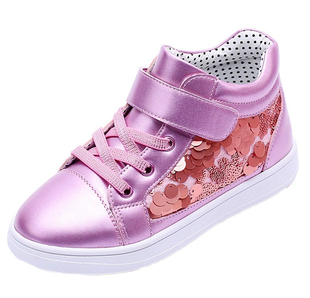 iDuoDuo Girls Glitter Sequins High Top Sport Sneakers Princess Flat Dress Shoes Purple 10 M US Toddler