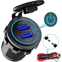 Quick Charge 3.0 Dubbele USB-Oplader Auto, Waterdichte 12V / 24V USB-Uitgang QC 3.0 Dubbele Oplader Met…