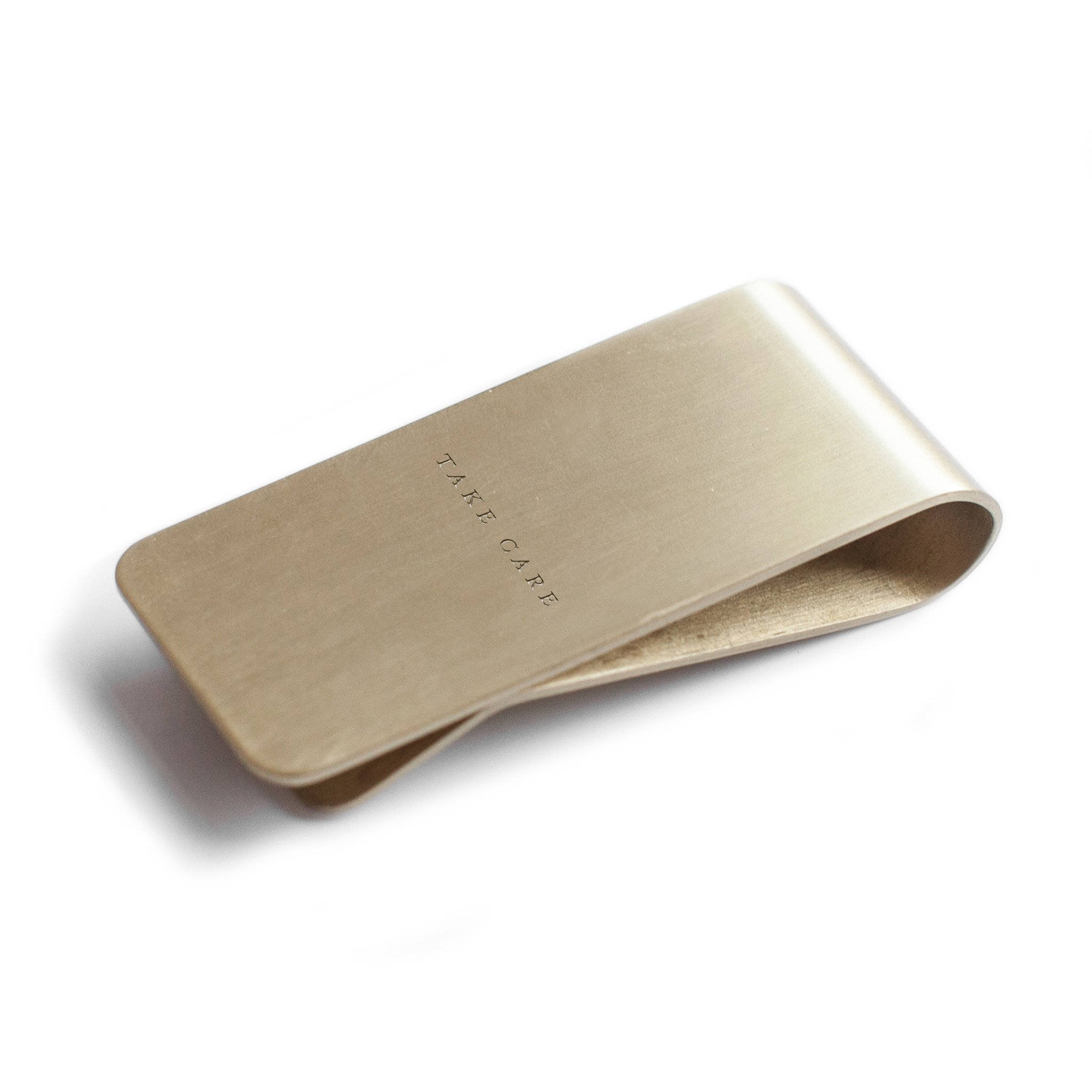 Izola Brass Money Clip Wallet Credit Card Cash ID Holder Travel Tool - Take Care
