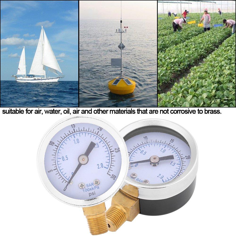 Manometro Idraulico Akozon TS-Y50I 1//8BSPT Manometri Glicerina Riempito Pressione DellAcqua 42mm 0~30psi//0~2bar