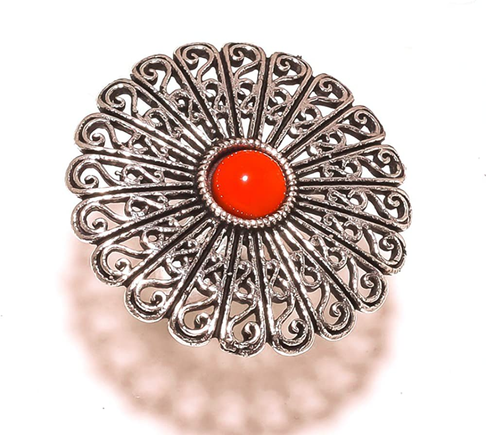 Sizable Red Coral Sterling Silver Overlay 10 Grams Oxidized Ring Size 6 US Ancient Handmade Jewelry