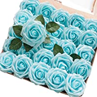Floroom Artificial Flowers 25pcs Real Looking Aqua Blue Roses with Stems for DIY Wedding Bouquets Baby Shower…