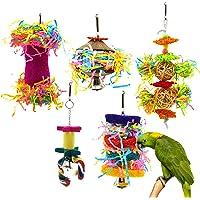 CooShou 5Pcs Bird Shredder Toys Small Parrot Chewing Toys Bird Foraging Hanging Toys for Small Birds Parakeets…