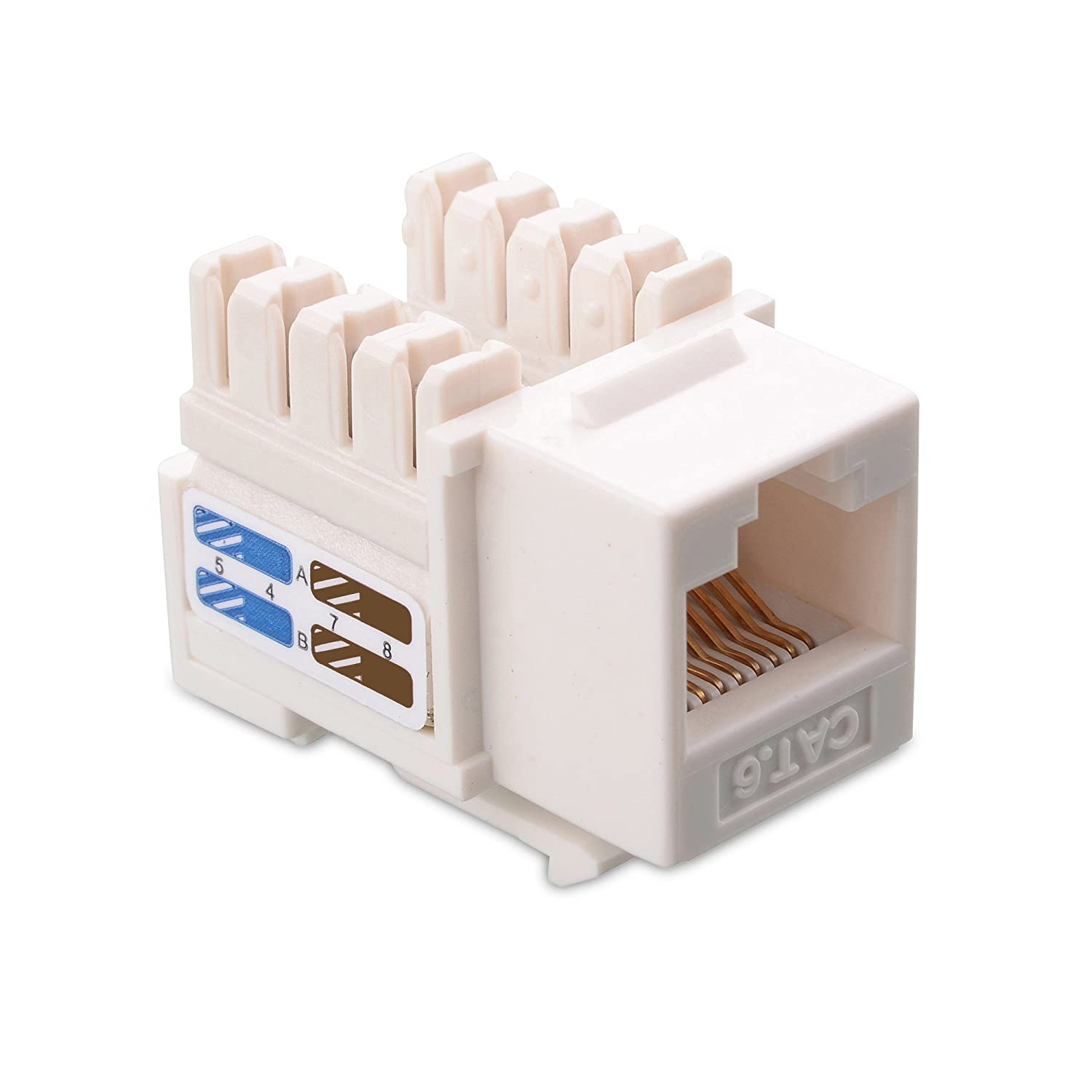 Cable Matters Ul Listed 25 Pack Cat6 Rj45 Keystone Network Color Code Colors Wiring Guide Diagram Tia Jack In White And Punch Down Stand Computers Accessories