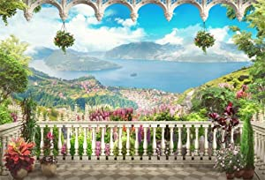 AOFOTO 8x6ft Retro Garden Terrace Backdrop Beautiful Balcony Scenery Photography Background Vintage Archway Landscape Girl Bride Portrait Seascape Romantic Wedding Photo Studio Props Vinyl Wallpaper