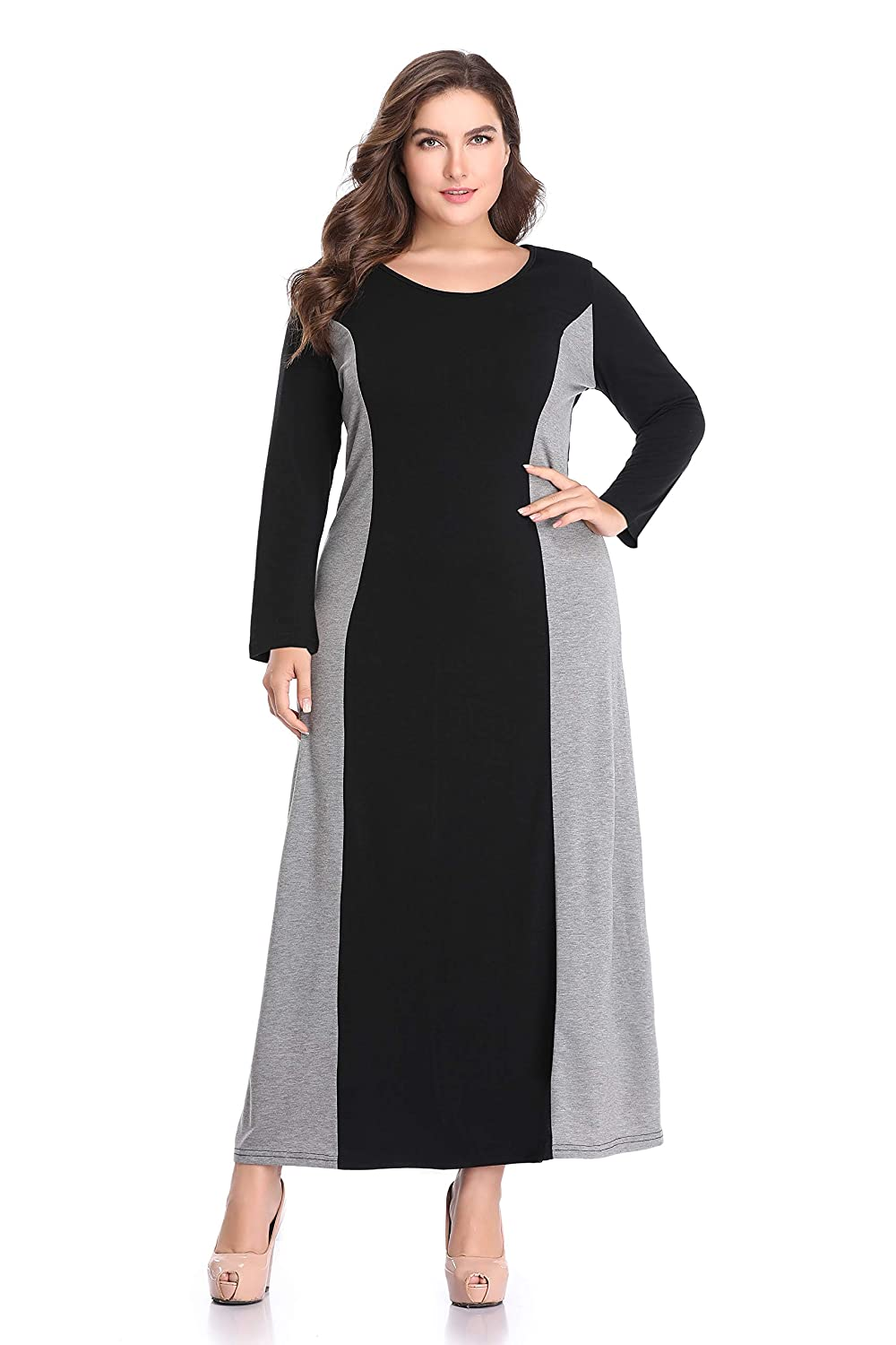 AUDATE Women's Plus Size Long Sleeve Color Block Round Neck Maxi Dress with Pocket