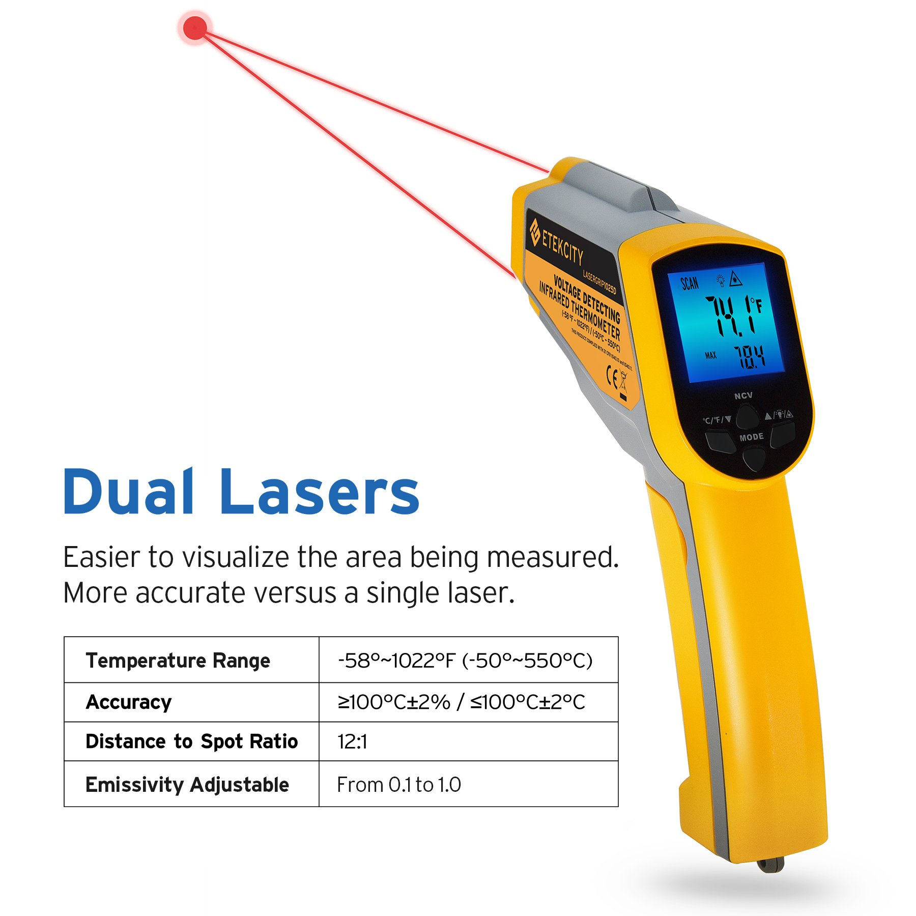 Etekcity Lasergrip 1025D Digital Dual Laser Infrared Thermometer Temperature Gun Non-contact -58℉~1022℉ (-50℃ ~ 550℃) with Voltage Detecting, Adjustable Emissivity by Etekcity (Image #4)