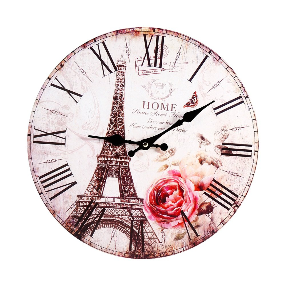 Vintage Paris Wood Wall Clock Round Antique Style Home Kitchen Bedroom Decoration Huhushop