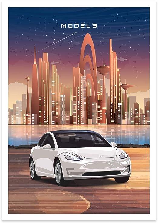 Poster Print Wall Art Decor Handmade Poster Inspired by Tesla Model 3 Tesla Motors