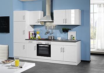 Held Möbel 690.6033 Küchenzeile 270 in Hochglanz-weiß / anthrazit ...