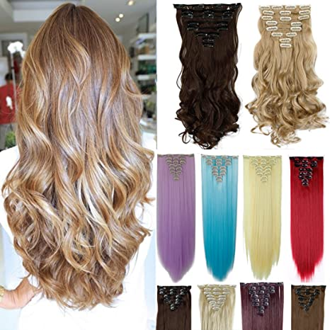 Natural Hair Extensions 8Pcs 18 Clips 17-26 Inch Curly Straight Full Head Clip in on Hair Extensions Women Lady Hairpiece