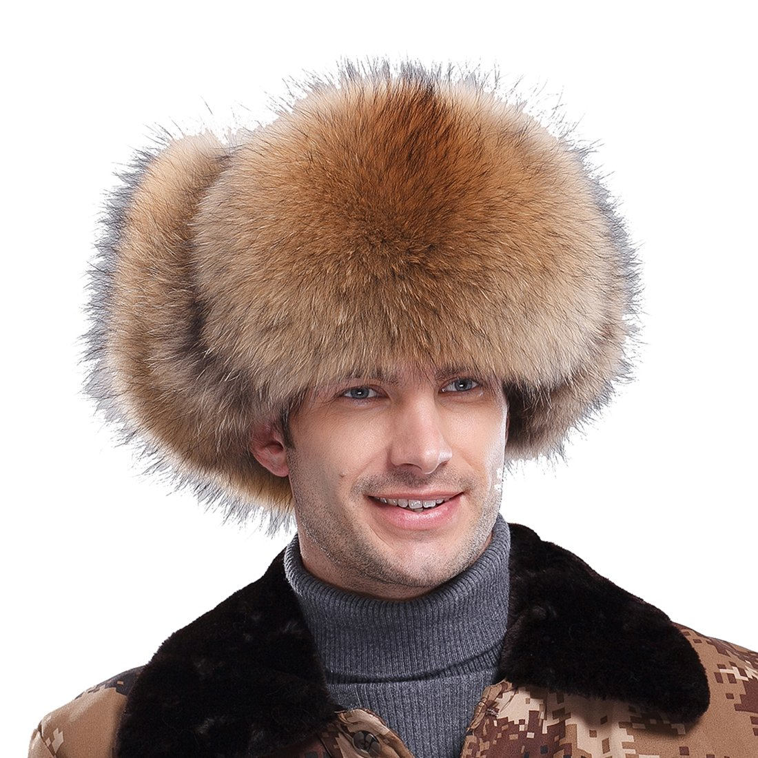 URSFUR Men's Raccoon Fur & Leather Trapper Hats Natural Color by URSFUR