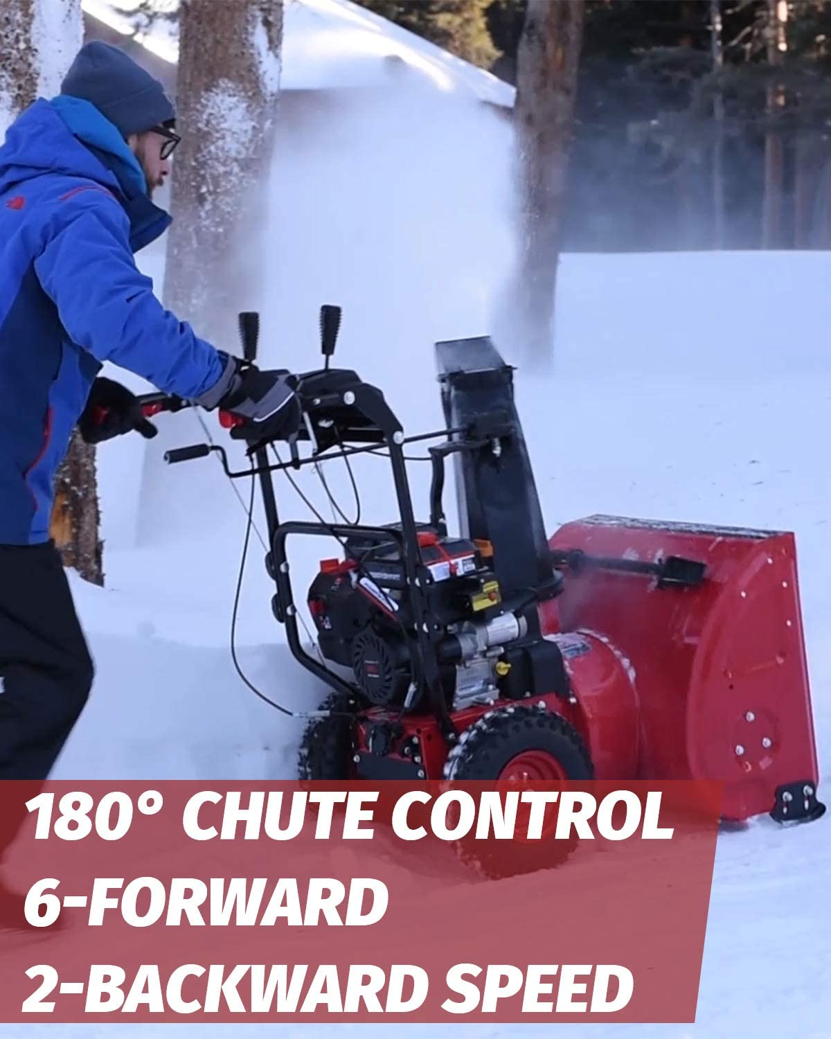 Color Red and Black 26-INCH Removal Width PowerSmart Snow Blower ...