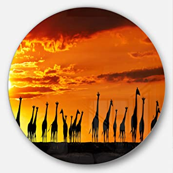 Designart African Giraffes Sunset Silhouette African Circle Wall Art 11 X 11 Red Amazon In Home Kitchen