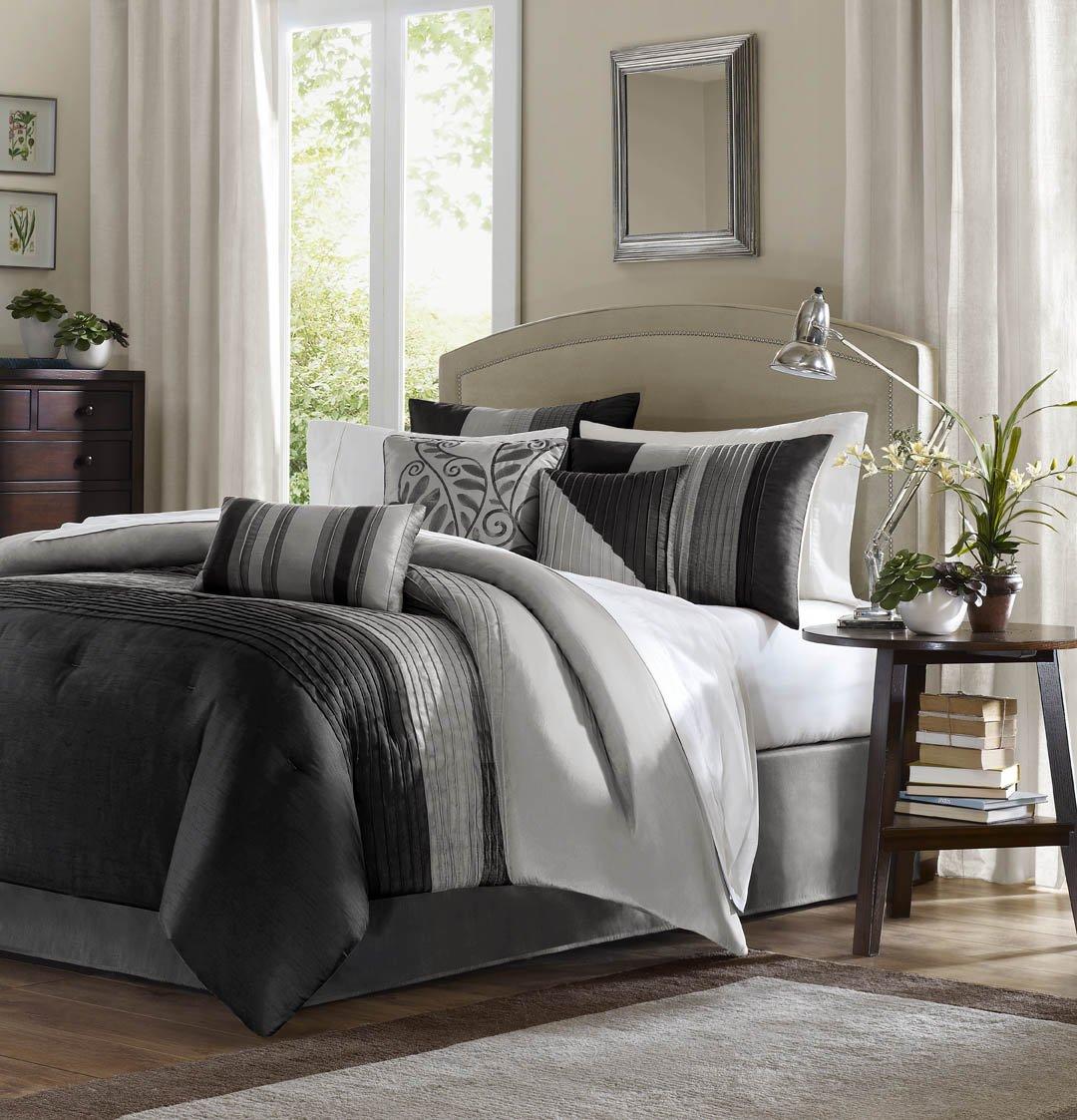 Madison Park Amherst Full Size Bed Comforter Set Bed In A Bag - Black, Grey, Pieced Stripes – 7 Pieces Bedding Sets – Ultra Soft Microfiber Bedroom Comforters