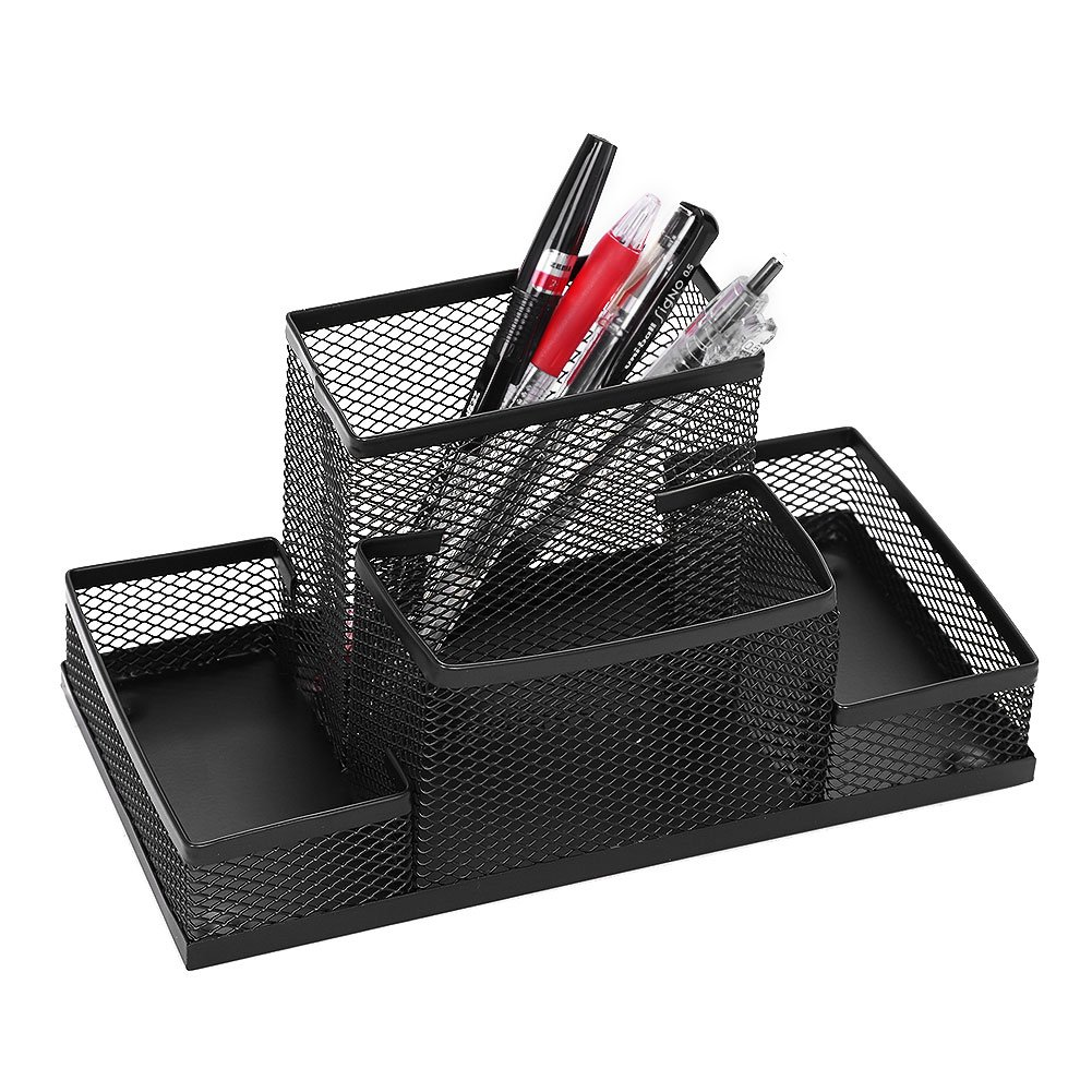 Mesh Pen Holder Desktop Metal Pencil Case Organizer 4 Compartment Accessories Storage Stand Office Home School Caddy Box Cards Rack by ITODA (Image #1)