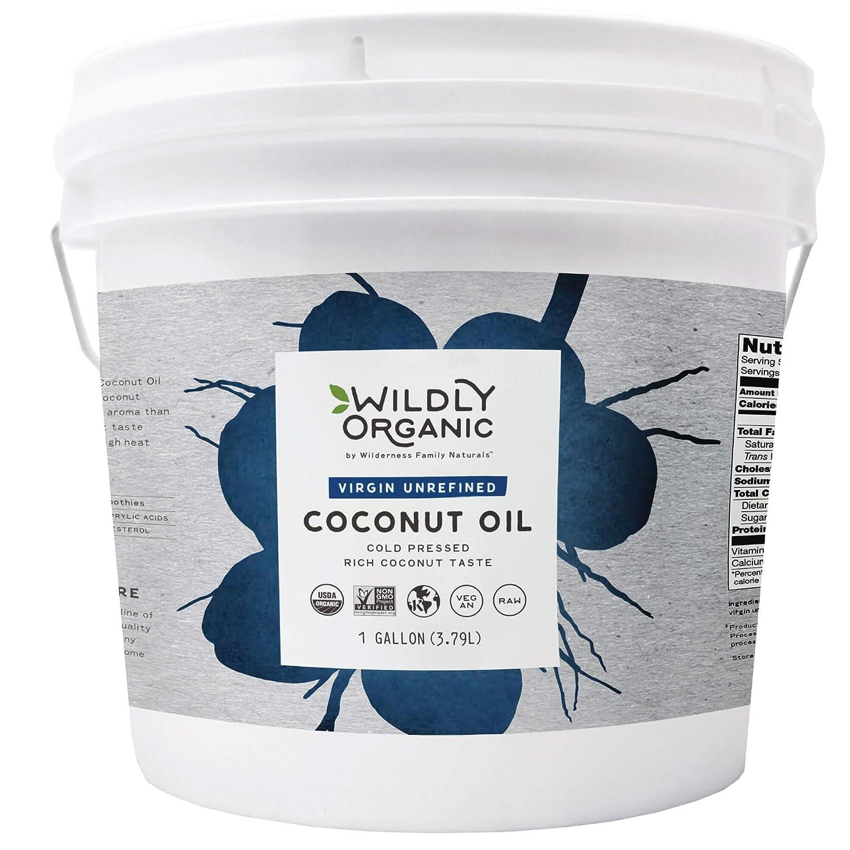 Unrefined Organic Coconut Oil - Organic Coconut Oil For Skin - Organic Coconut Oil For Hair - Coconut Oil For Cooking - Cold Pressed Coconut Oil - Extra Virgin Coconut Oil - 1 Gallon - Wildly Organic