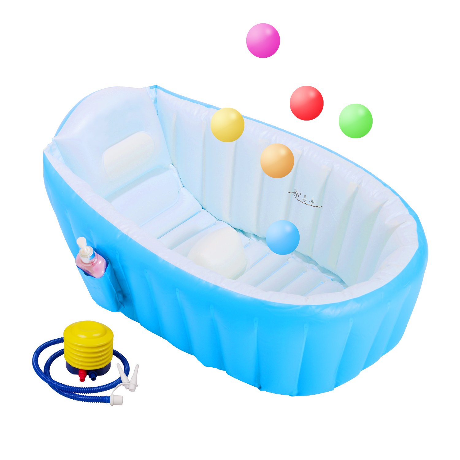 Biubee Baby Inflatable Bathtub - Air Bath Basin with Inflator Pump & 6pcs Colorful Ocean Balls, Non Slip with Soft Cushion Foldable and Portable Suitable for Swimming Pool & Travel(Blue)