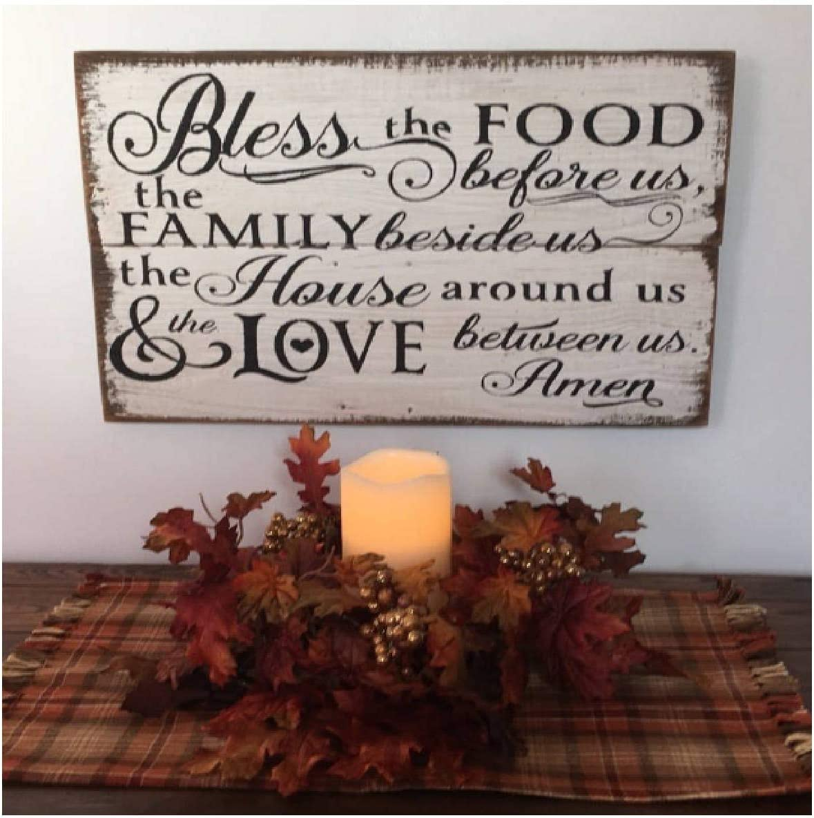 Rustic Wooden Plaque Wall Art Hanging Wood Sign Bless The Food Before Us The Family Beside Us The House Around Us and The Love Between Us Wood Sign 20