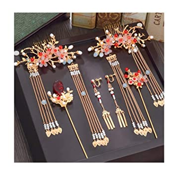 169463d5f Amazon.com : Ancient Traditional Chinese Hairpin Hair Pin Stick Bridal Hair  Accessories Chinese Wedding Headdress Head Bride Jewelry Ornament : Beauty