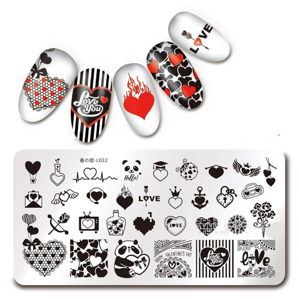 Born Pretty 1Pc Rectangle Stamping Plate Halloween Skull Rose Pattern Nail Art Image Plate Harunouta L035