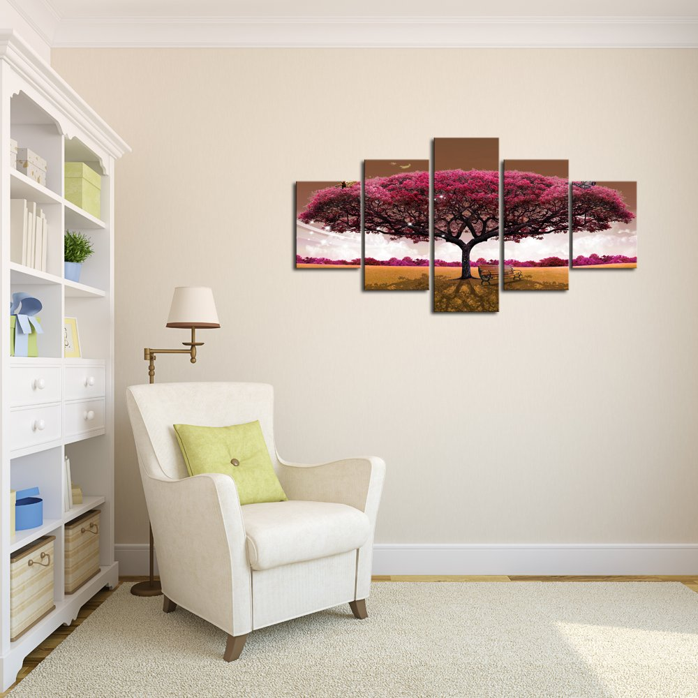 Amazon.com: DZL Art Wall Art Canvas Painting Red Tree Landscape ...