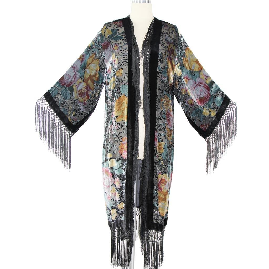 Aris A Women Vintage Floral Silk Burnout Velvet with Fringe Duster Kimono