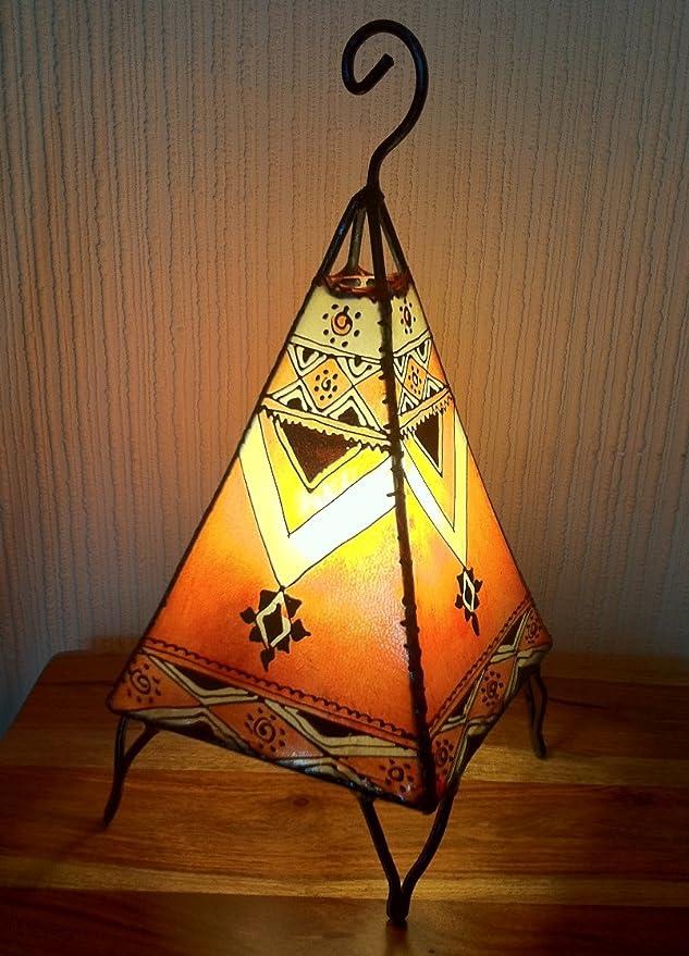 Lámpara de mesa marroquí de henna forma pirámide color naranja 38 ...